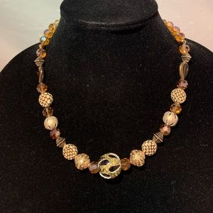 Gold and Black Crystal Chunk Necklace